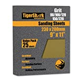 TigerShark 9 inch by 11 inch Sanding Sheets Grit 80/100/120/150/220 25PCS Pack Paper Gold Line Special Anti Clog Coating