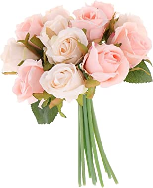 TIED RIBBONS Artificial Rose Flowers Bunches for Vase (12 Heads, 24 cm, Light Pink) - Home Decoration Gift Items for Living R