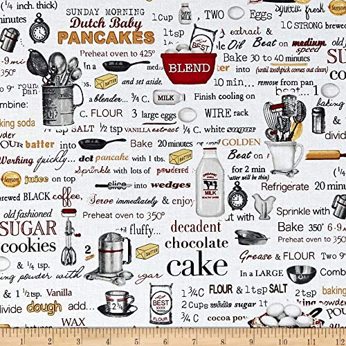 Robert Kaufman Kiss The Cook Recipes Quilt Fabric by the Yard, White