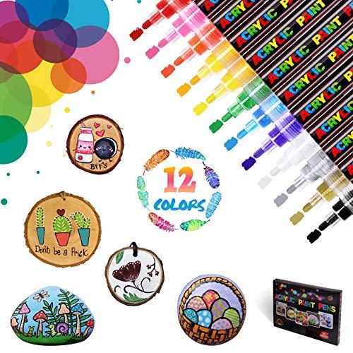 WONSAR Rotuladores Acrilicos 12 Colores Rotuladores de Pintura Acrílica para Lienzo Madera...