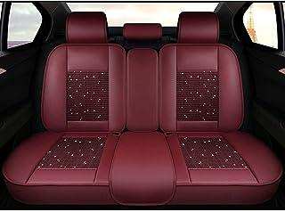 Car Seat Covers, 5 Asiento completo sistema de cuero Par Delantero universal de Carseat Protectores Conjunto for el conductor y el pasajero del automóvil Accesorios Interior Colchoneta (Color : Red)