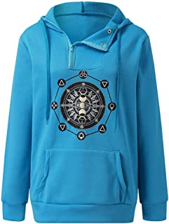 LARNOR Fashion Long Sleeve Tops Sweater Hooded Zipper Women Pocket Sweatshirt