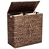 Best Choice Products Rustic Extra Large Natural Woven Water Hyacinth Double Laundry Hamper Storage Basket w/ 2 Removable Machine Washable Cotton Liner Bags, Divided Interior, Lid, Handles