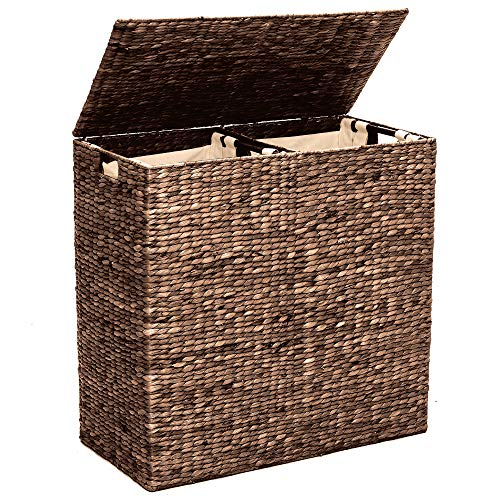 Best Choice Products Rustic Extra Large Natural Woven Water Hyacinth Double Laundry Hamper Storage Basket w/ 2 Removable Machine Washable Cotton Liner Bags, Divided Interior, Lid, Handles - Espresso