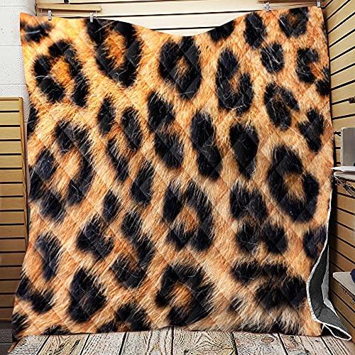 Fansu Colcha Acolchada Fina Suave Cubrecama Rellenos Finos Toda Temporada Edredón Colchas Bouti Cama 90/135/150, Estampado de Leopardo 3D Manta para Sofa (6,226 * 280cm)