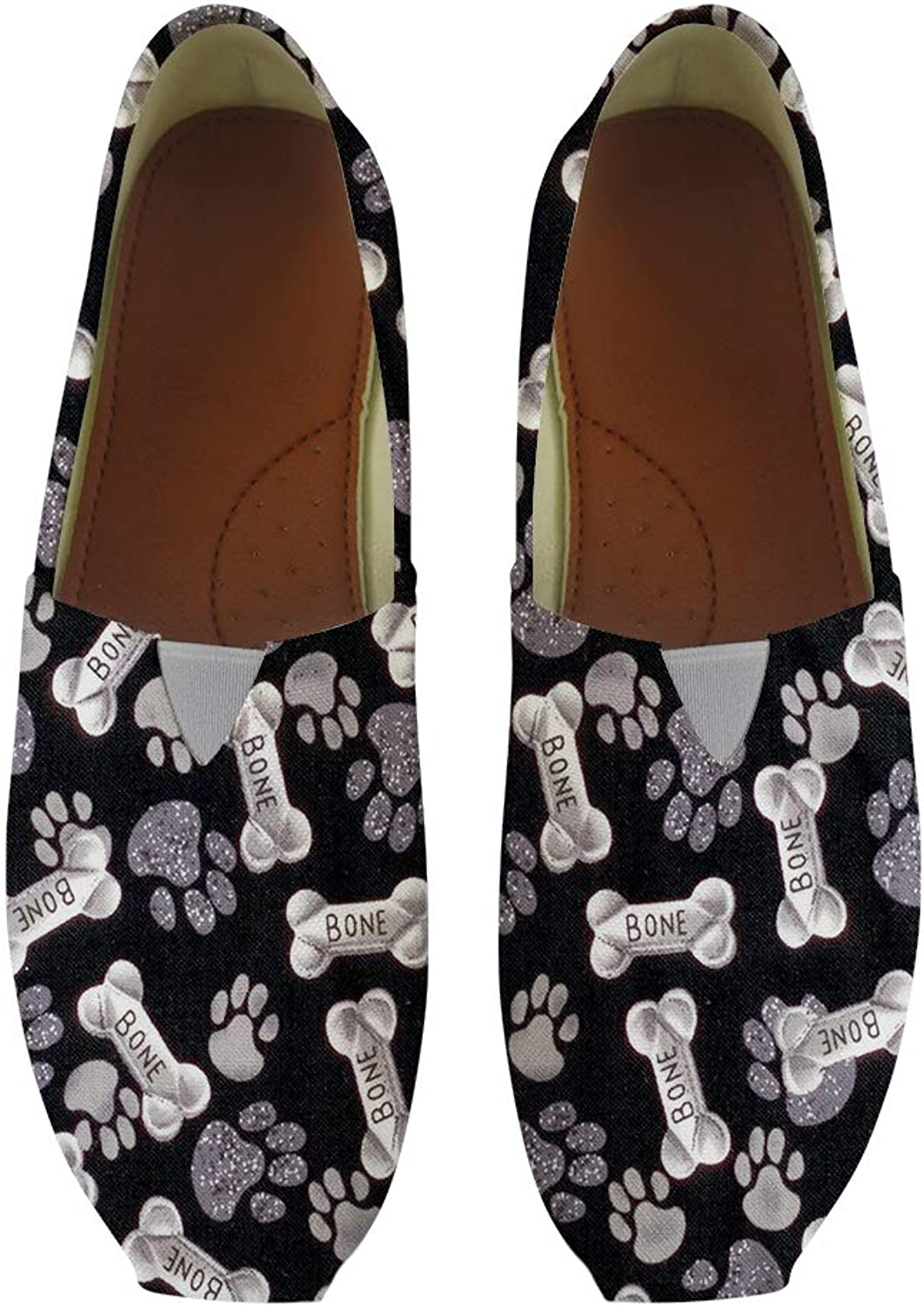 Owaheson Classic Canvas Slip-On Lightweight Driving shoes Soft Penny Loafers Men Women Bones Dog Paw Prints
