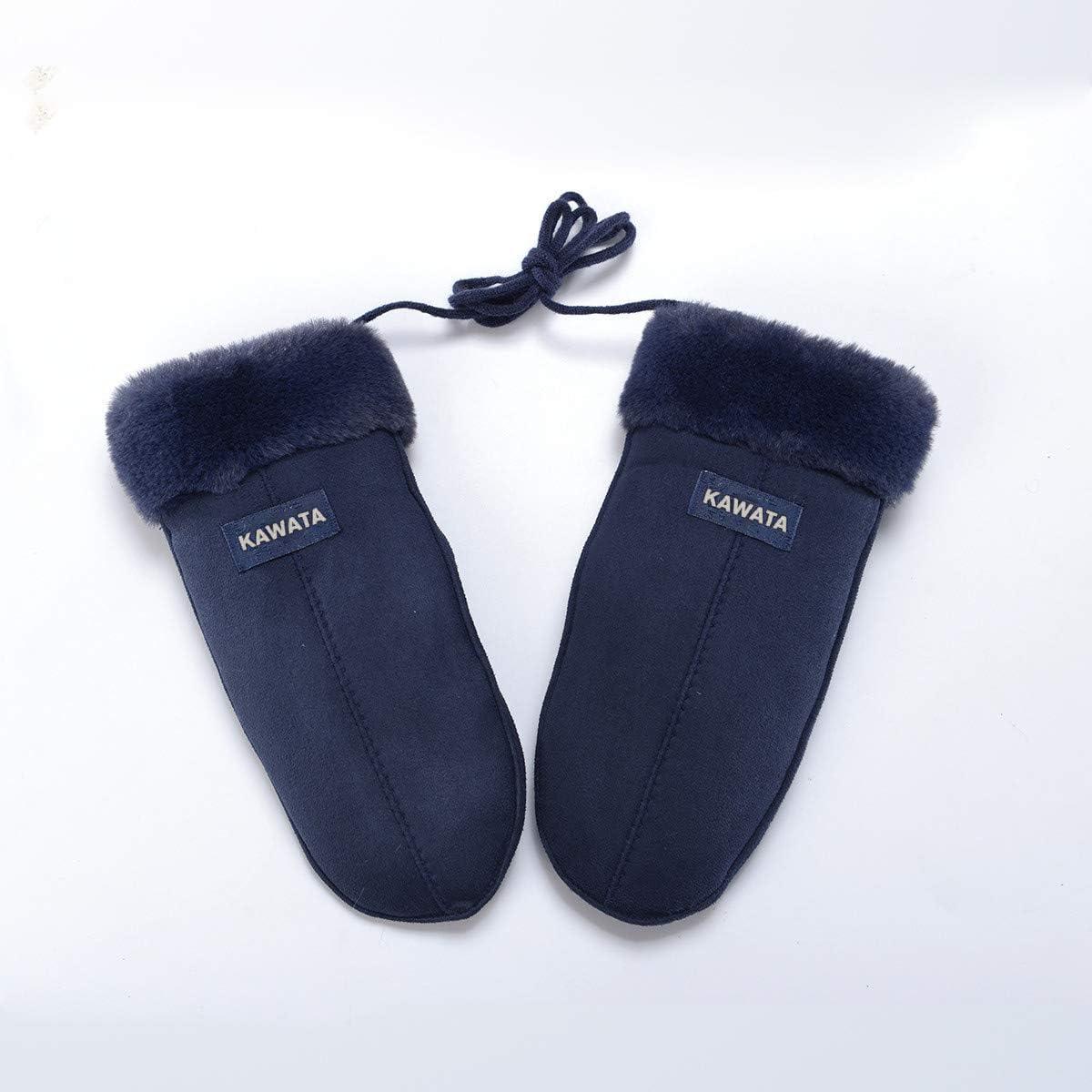 KAWATA Gloves winter plus velvet thickened cold-proof student full finger gloves