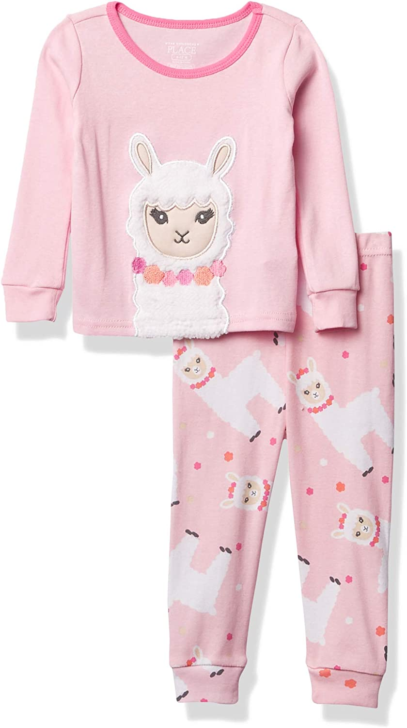 The Children's Place Girls' Baby and Toddler Llama Snug Fit Cotton Pajamas