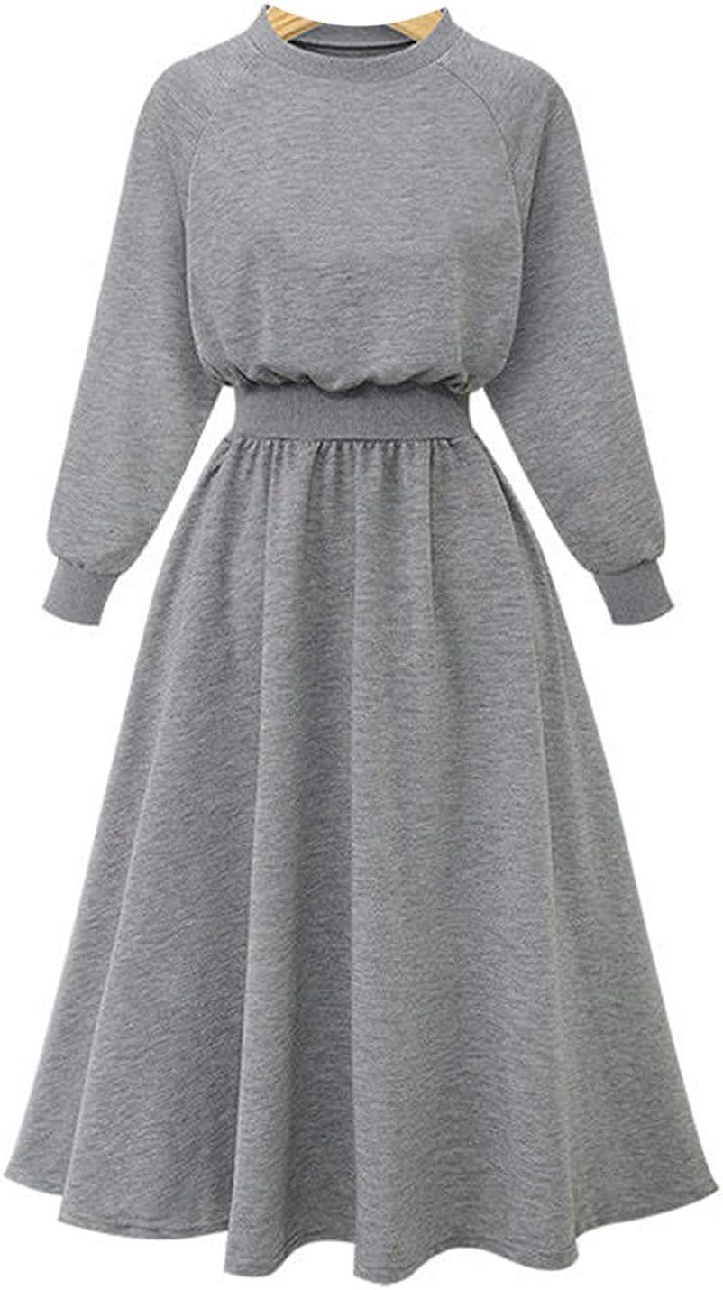 Uaneo Women's Slim Solid Crewneck Elastic Waist Pleated Long Maxi Dress Sweatshirt(Grey-S)