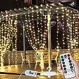 LED Lichtervorhang,3x3m 300 LEDs USB Lichterkette mit 8 Lichtmodelle IP44 Wasserdicht Deko,Warmweiß Kupfer Lichterketten Vorhang Innen für Zimmer Weihnachtsdeko Innenbeleuchtung Partydekoration