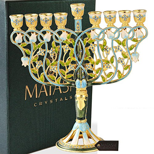 Matashi Tall Hand Painted Enamel Menorah Candelabra Embellished with Flowers Design Gold Accents and Blue Crystals Jewish Candle Holder Holy Land Gift Showpiece for Living Room (7.5 inch)