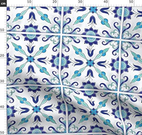 Spanische Fliesen, Marokkanisch, Maurisch, Türkis, Schwimmbecken, Küche Stoffe - Individuell Bedruckt von Spoonflower - Design von Juniperr Gedruckt auf Bio Baumwollsatin