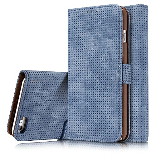 YOUNGE iPhone 6 Plus / iPhone 6S Plus Case Mesh Premium PU Leather Flip Wallet Case Cover with Breathe Freely Design for Apple iPhone 6 Plus / iPhone 6S Plus 5.5 Inch