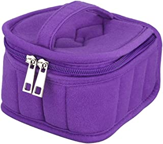Yardwe 16 Slots Essential Oil Storage Case Shockproof Roller Bottle Storage Bag Zippered Portable Travel Makeup Pouch for Women Girls (Purple)