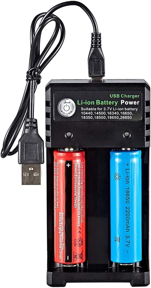 Smart Battery Charger, 2 Slot with USB Port Suitable for 3.7V Li-ion Rechargeable Batteries of 10440(AAA) 14500(AA) 14650 16340 16650 18350 18500 18650 21700 26650, (Battery Not Included)