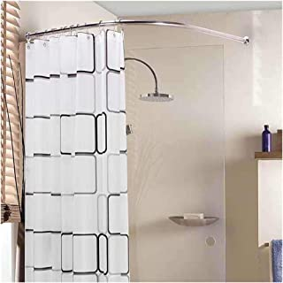 Curved No Drill Plus Shower Curtain Tension Rod, Stretchable Corner Shower Curtain Rod - 304 Stainless L Shaped, for Bathr...
