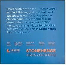 Legion Stonehenge Aqua Watercolor Block, 140lb. Cold Press, 7 by 7 inches, White, 15 Sheets (L21-SQC140WH77)