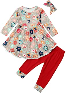 Nice Toddler Baby Girls Floral Print Dress Set Long Sleeves Mini Dress+ Red Pants +Headband Outfits Clothing Set (Age:2-3 Years, Red)