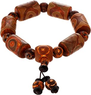 Prime Fengshui Protective Yellow Tibetan Dzi Beads Bracelet Amulet Bangle Attract Positive Energy and Good Luck