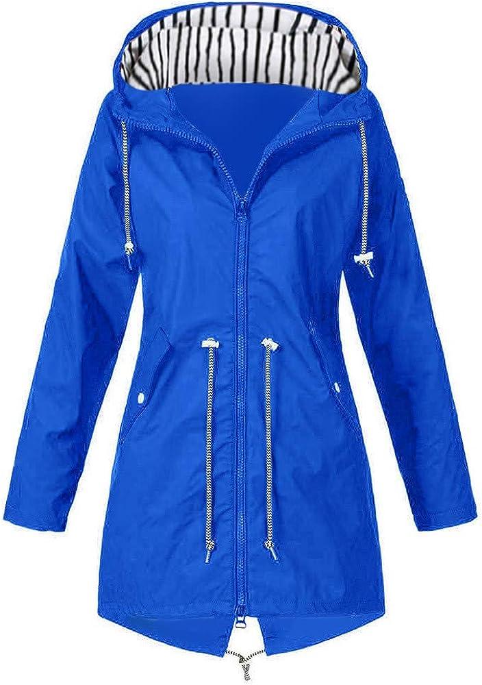 Womens Rain Coat Lightweight Hooded Long Raincoat Outdoor Breathable Rain Jackets Waterproof Rain Jacket