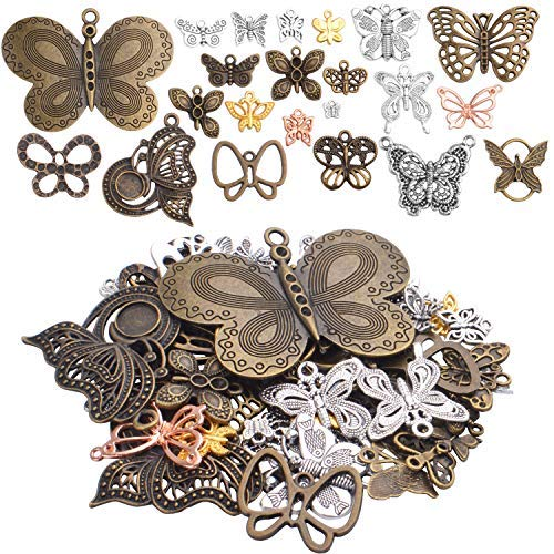 100g (25-50pcs) Mixed Butterfly Charms Vintage Fly Insect Pendant Charms for Necklace Bracelet Jewelry Making Crafting