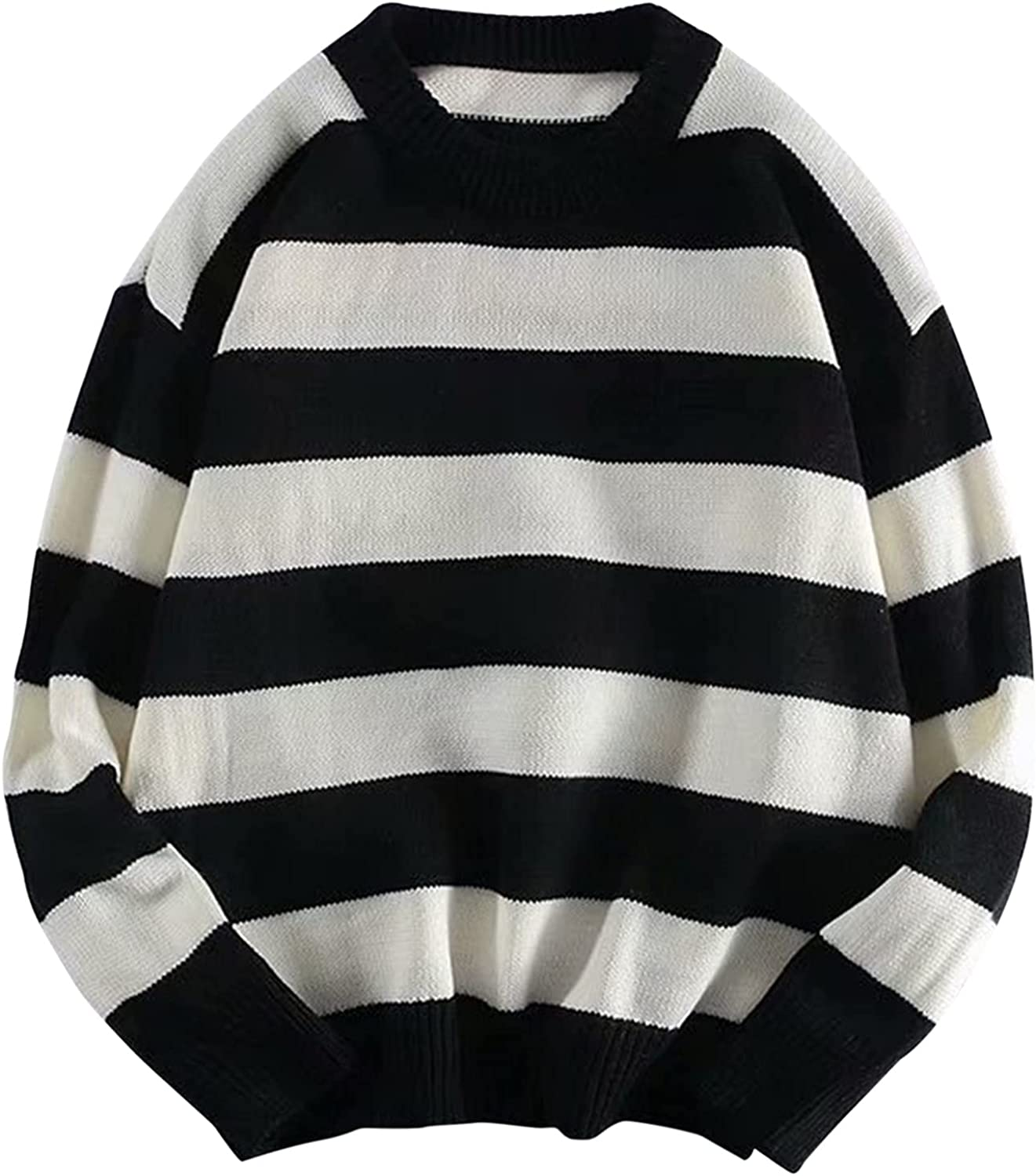 XXBR Pullover Sweater for Mens, Fall Long Sleeve Striped Patchwork Workout Sports Bottoming Casual Crewneck Jumper Tops