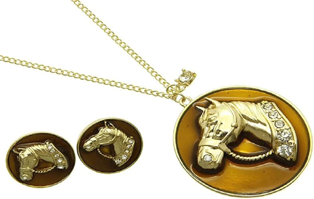 Rose's Gift Store~Fashion Jewelry Horse Head with Crystals Necklace and Earring Set