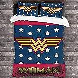 Wonder-Woman - Juego de cama infantil (1 funda nórdica y 2 fundas de almohada),...