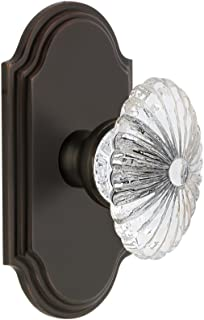 Grandeur 821447 Arc Plate Privacy with Burgundy Crystal Knob in Timeless Bronze, 2.375