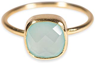 Wolke Grüner Chalcedon Edelstein 925 Sterling Silber verstellbar Frauen Ringe