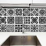 Walplus Calli Negro y Blanco Mediterráneo Azulejo Set de Pegatinas - 15 X 15CM (6 X 6 IN) - 24 Piezas, Bricolaje Arte, Decoraciones para el Hogar, Adhesivos, Decoración de Cocina, Baño Ideas