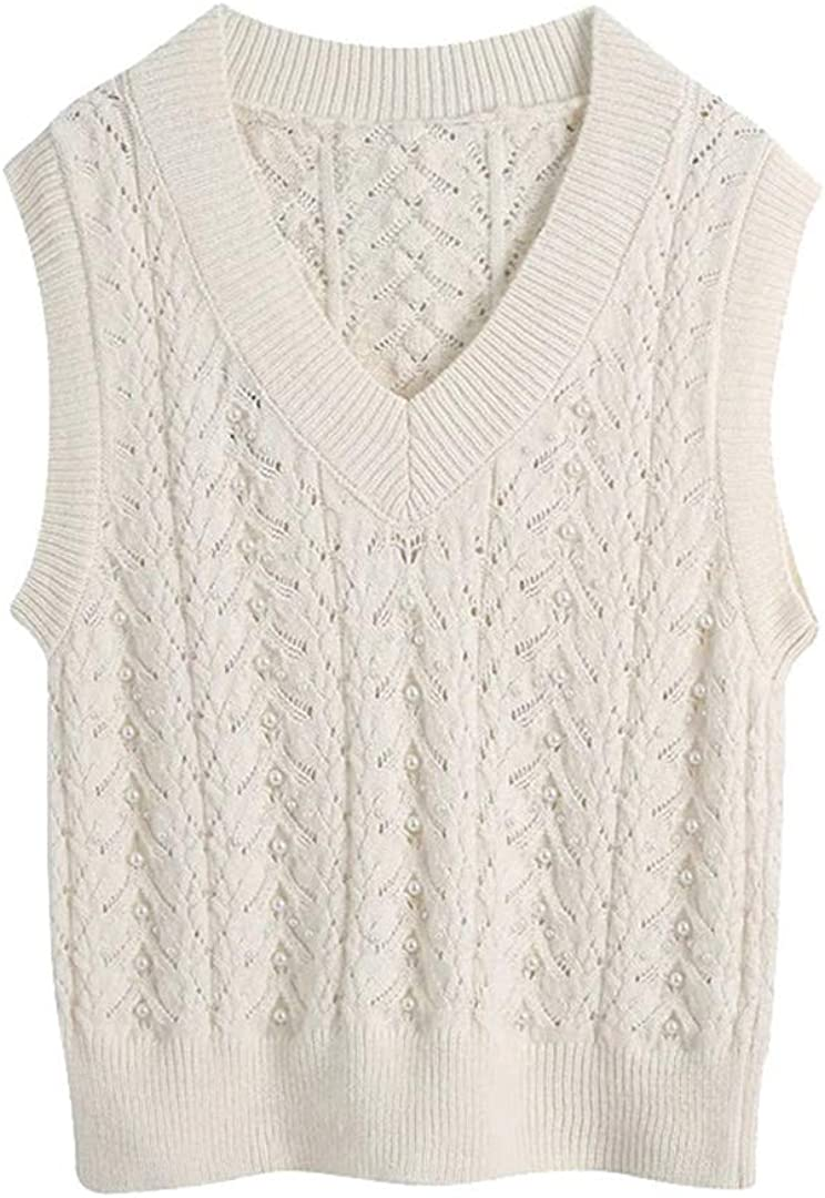 Women Fashion with Faux Pearl Knitted Vest Sweater Vintage V Neck Sleeveless Female Waistcoat Chic Tops