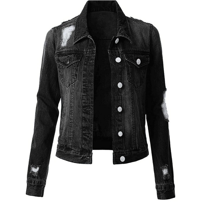 Womens Denim Jacket Button Down Jean Coats Vintage Long Sleeve Denim Jackets Coat Top (Medium,Black)