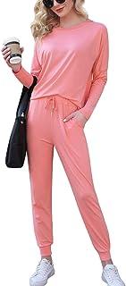 Enjoyoself Women's Cotton Long Sleeve Pajamas Set Sleepwear Loungewear 2 Piece Outfit Long Pant Set Sweatsuits Tracksuits