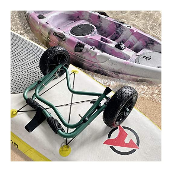 """Codinter Kayak Cart, Canoe Dolly Trolley for Carrying Kayaks Boats Paddleboard Transport – Green 6 📌【Carrier Type】This kayak cart is able to universal carrying kayaks, canoes, paddleboards which width less than 80cm (31"""") are the best fit, but NOT for transporting inflatable boats 📌【Stable Structure】 Four quality powder-coated aluminum tubes compose the kayak trolley with the stainless steel hardware that's meant to stand the test of time. Powerful & durable frame reliably capacity 165 lbs., rubber padding on the frame for hull protection 📌【Foldable and Portable】Foldable trailer is easy to be carried by hand or your shoulder, also can be stored in the trunk of a car for convenient portability"""