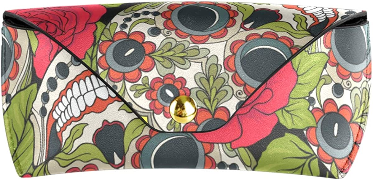 Multiuse PU Leather Goggles Bag Sunglasses Case Eyeglasses Pouch Happy Vintage Sugar Skull Roses Portable gift