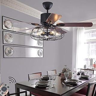 N / A Ventilador de Techo Reversible con un Ventilador de Techo Industrial Retro con Ventilador de la lámpara de Madera Clara Hoja de iluminación 5 Estilo Ventilador de Jaula de Hierro de la sa.