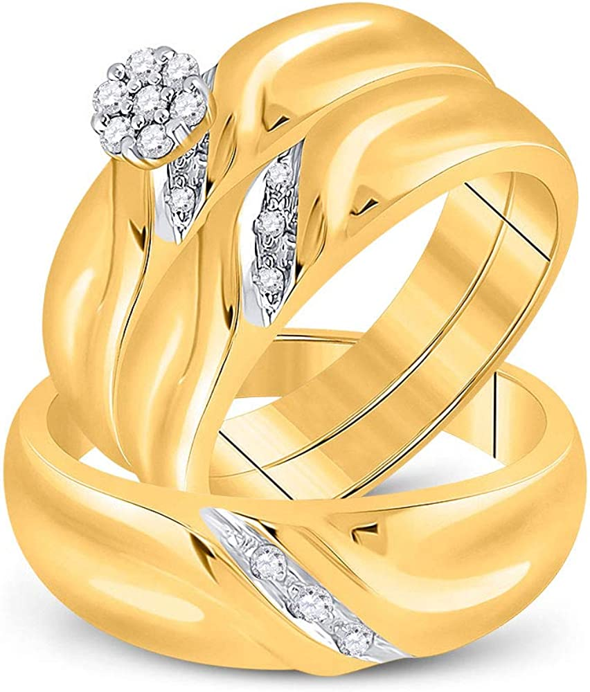 Solid New sales 10k Yellow Gold Luxury goods His and Cluster Hers Round Matchin Diamond