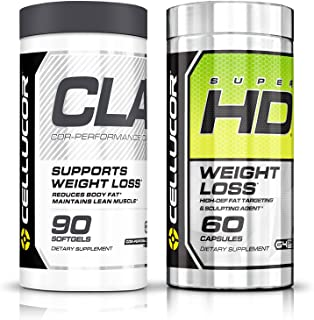 Cellucor SuperHD Thermogenic Fat Burner For Men & Women, 60 capsules + Cellucor CLA Weight Loss Supplement, 90 Softgels