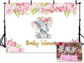 MEHOFOTO 7x5ft Cute Elephant Girl Princess Baby Shower Party Backdrop Pink Flowers Welcome Decorations Photography Background Photo Banner
