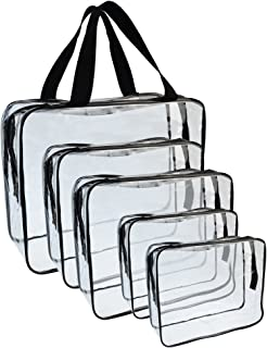 5 Packs Clear Cosmetics Bag Make-up Bags Organizers, Wobe PVC Zippered Toiletry Carry Pouch Portable Makeup Bag for Vacati...