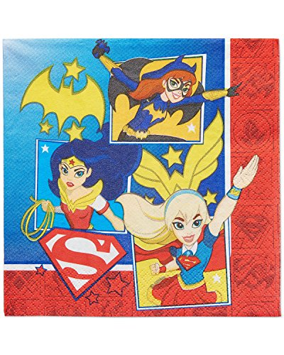 Amscan International 511609 Serviettes de Table Super-héroïnes DC, 33 cm