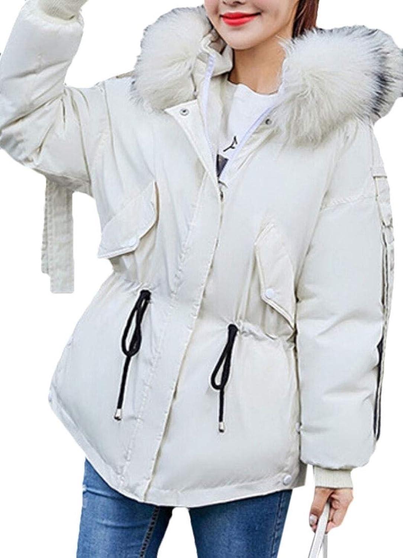Gocgt Women ZipUp Down Coat Faux Fur Hooded Coat Outwears Thicken Outwear