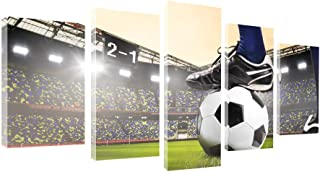 gold mi 5 Panels Wall Art Canvas Painting for Kids' Room Wall Decor Soccer Match Artwork Football Course Wall Pictures Home Decorations Game Room Frame (8x14inchx2+8x18inchx2+8x22inchx1)