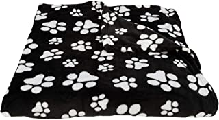 GreaterGood Super Cozy Fleece Paw Bedding (Black & White, Queen)