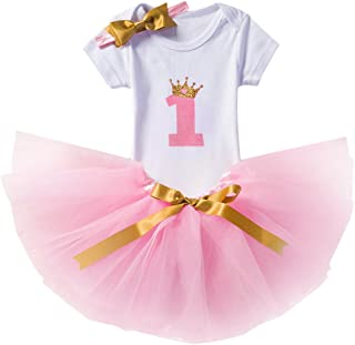 Baby Girl Newborn 1st Birthday Cake Smash 3Pcs Outfits Shinny Sequin Bow Princess Romper+Tutu Skirt Dress+Headband