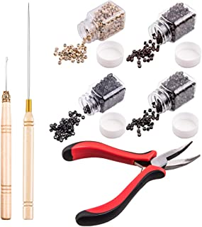Hair Extension Kit, WXJ13 2000 Pieces Silicone Lined Micro Ring and Pliers Pulling Hook Bead Device Tool Kitsfor DIY Hair Extensions, 4 Colors