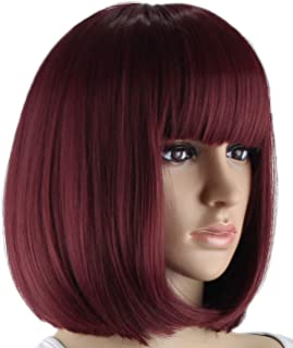 Wine/Dark Red Bob Wigs and A Wig Cap, Short Straight Flat Bangs, Sexy Stylish Cosplay Party Hair Wigs, wig003WR