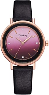 Stylish watch Women's Watch Quartz Wrist Watch with Round Dial Inlaid Rhinestone Gradient Watch for Elegant Female,Beige Watch (Color : Black)