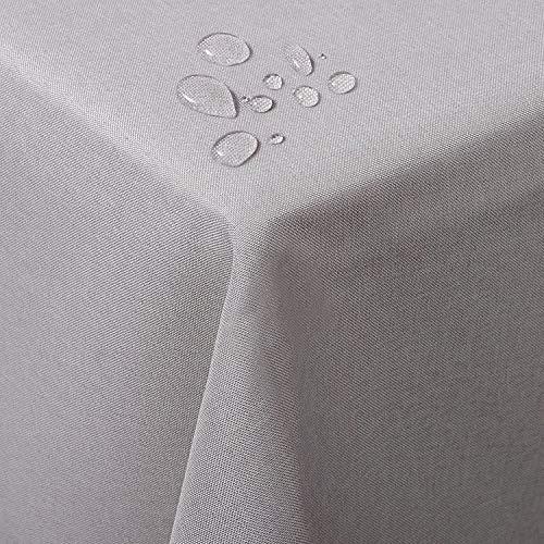 WOLTU TD3043be Tischdecke Tischtuch Leinendecke Leinen Optik Lotuseffekt Fleckschutz pflegeleicht abwaschbar schmutzabweisend Farbe & Größe wählbar Eckig 130x220 cm Beige